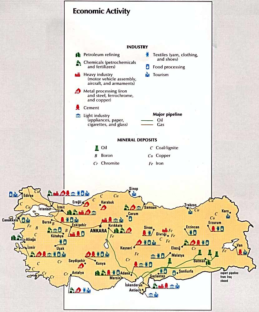 Middle East Map Activities.1up Travel Maps Of Turkey Turkey Economic Activity From Atlas