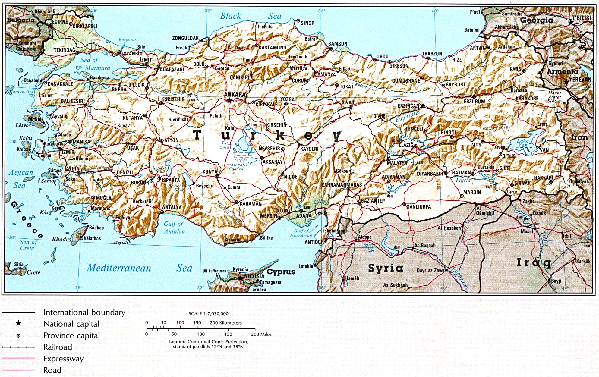Turkey maps perry castaeda map collection ut library online turkey shaded gumiabroncs Image collections