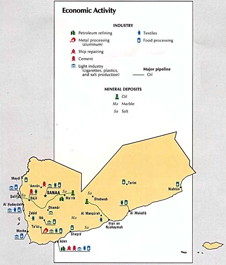 Middle East Map Activities.1up Travel Maps Of Yemen Yemen Economic Activity From Atlas Of