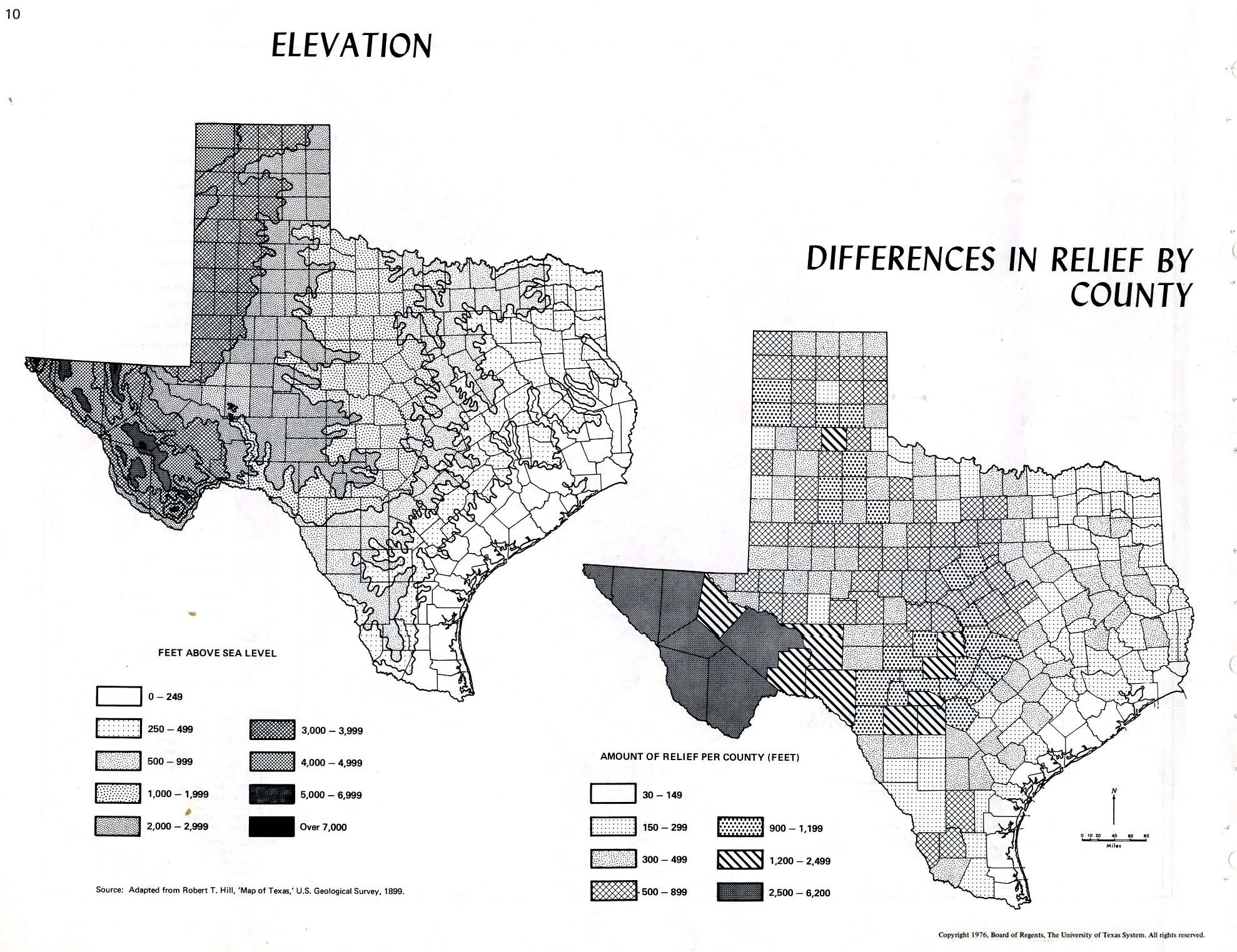 Atlas Of Texas PerryCastañeda Map Collection UT Library Online - Texas elevation map