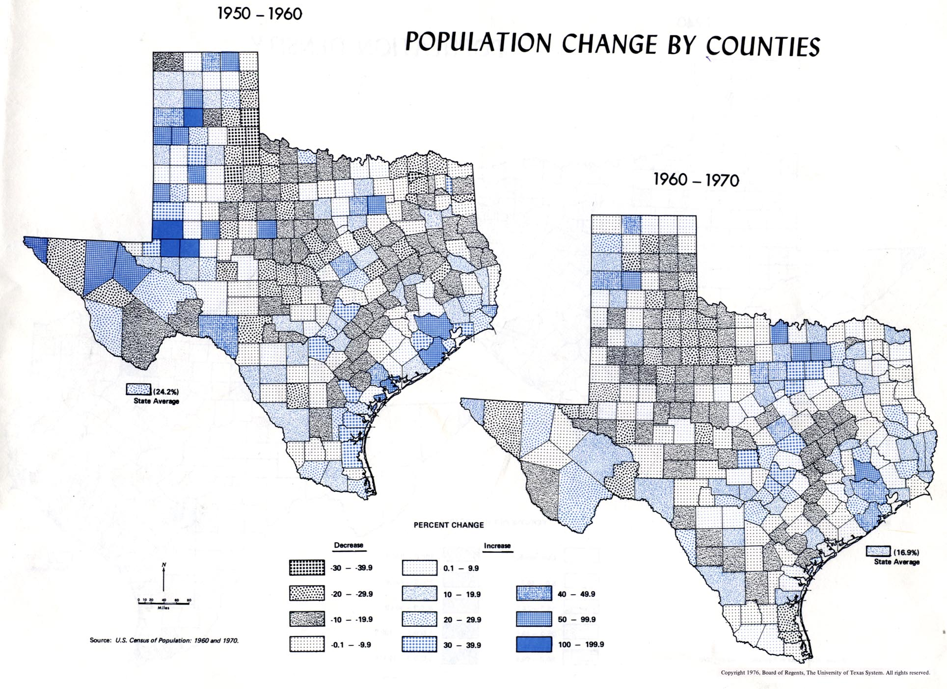 60 Population By Counties 1950 1960 1960 1970 2 Maps