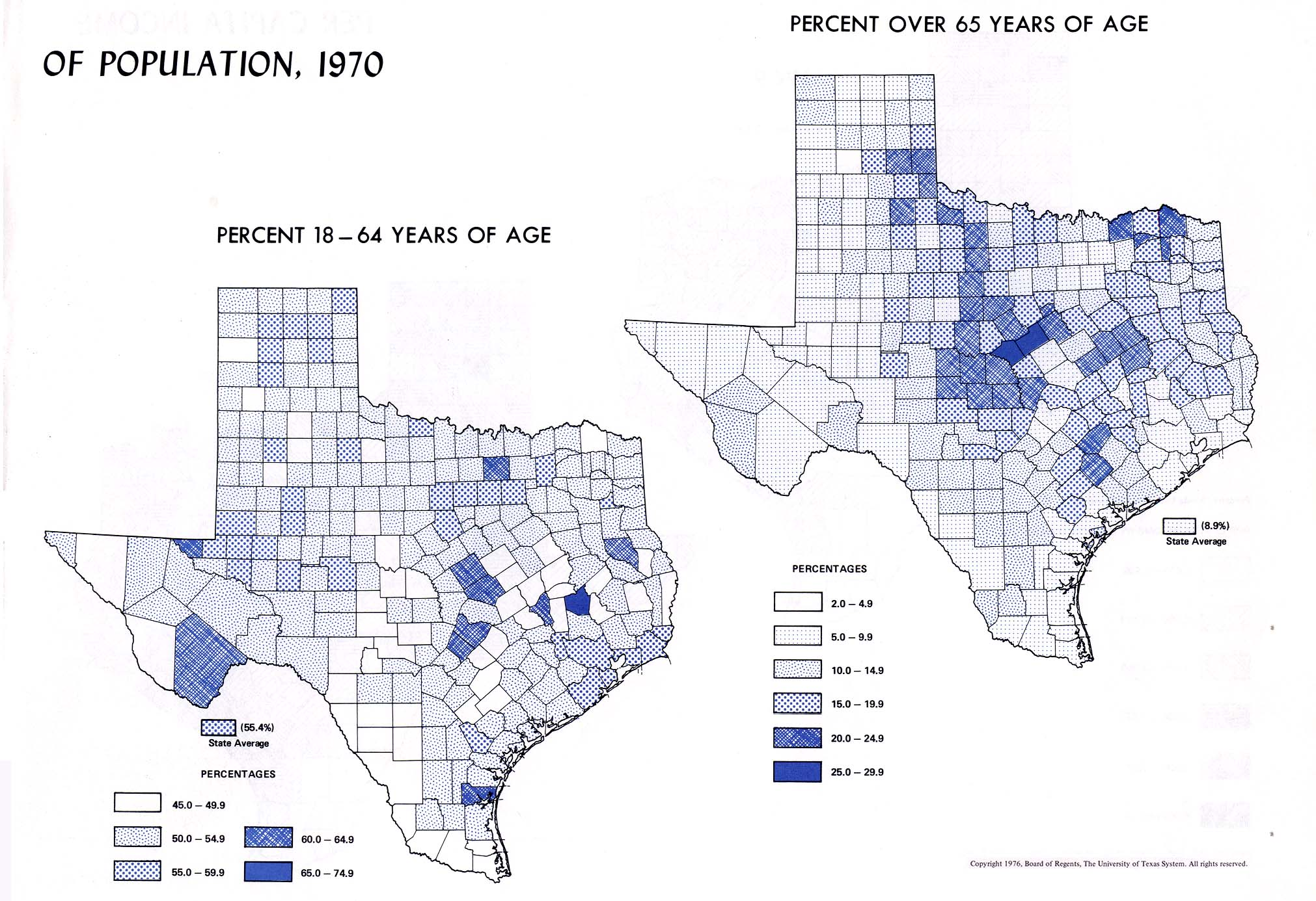 Atlas Of Texas PerryCastañeda Map Collection UT Library Online - County map of 50 percent of us population