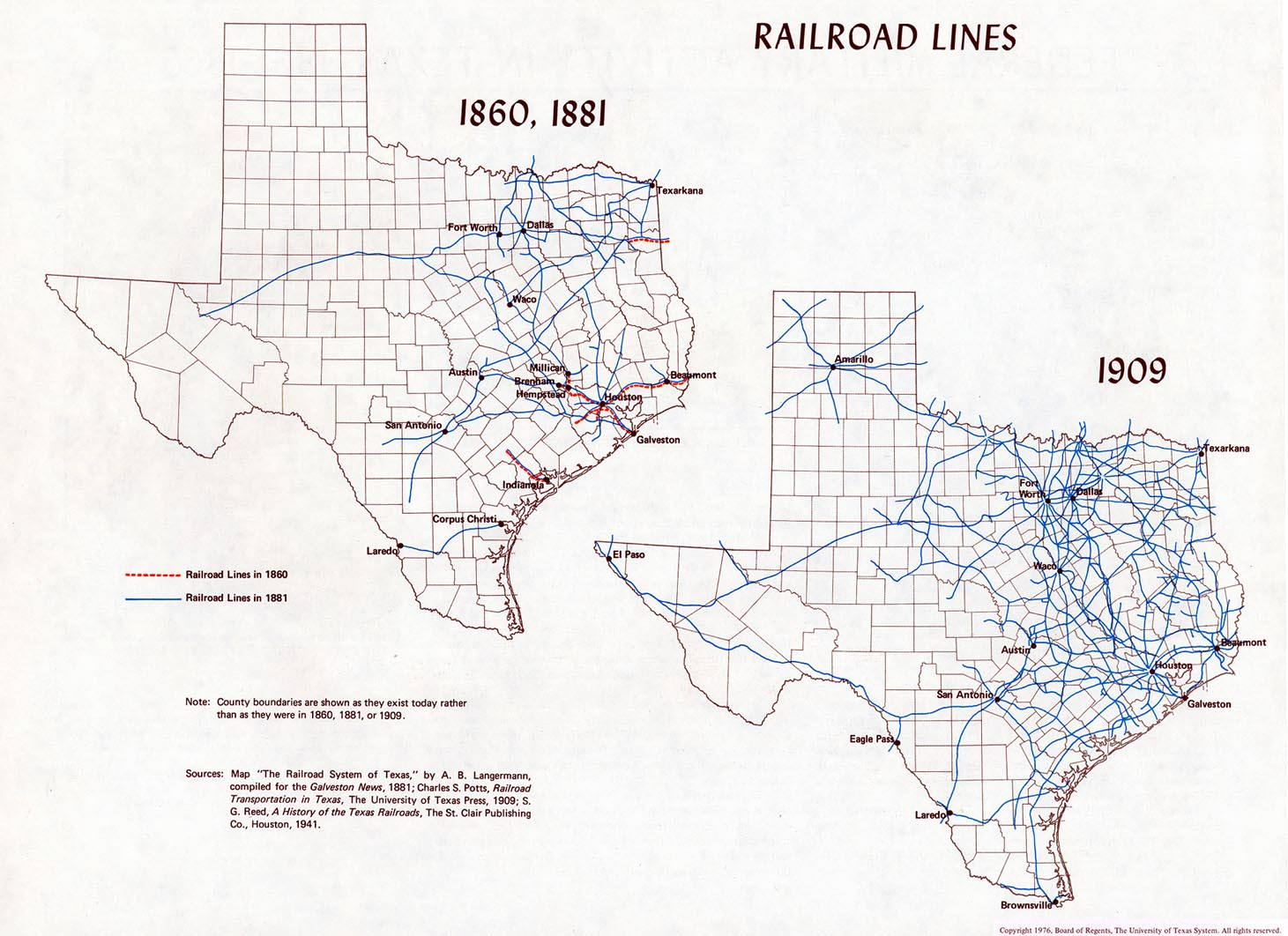 Atlas Of Texas Perry Castaeda Map Collection Ut Library Online Ball Mill Schematic For Pinterest 55 Railroad Lines 1860 1881 1909 2 Maps