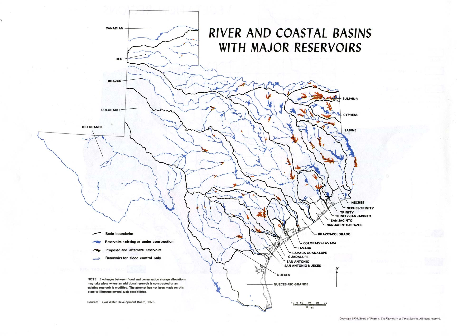 Atlas Of Texas PerryCastañeda Map Collection UT Library Online - Texas rivers and lakes map