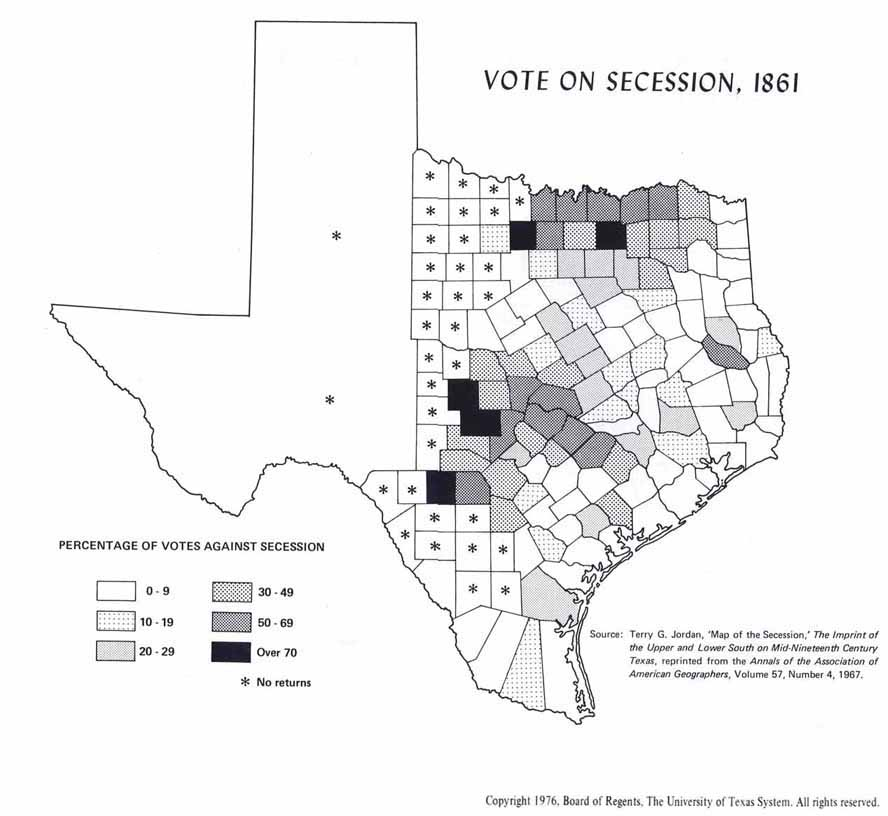 texas county secession voting map 1861 texags