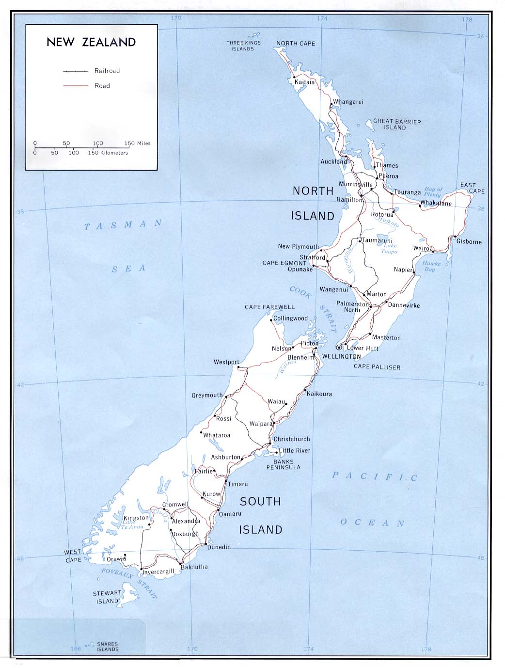 Political Map Of New Zealand.New Zealand Maps Perry Castaneda Map Collection Ut Library Online