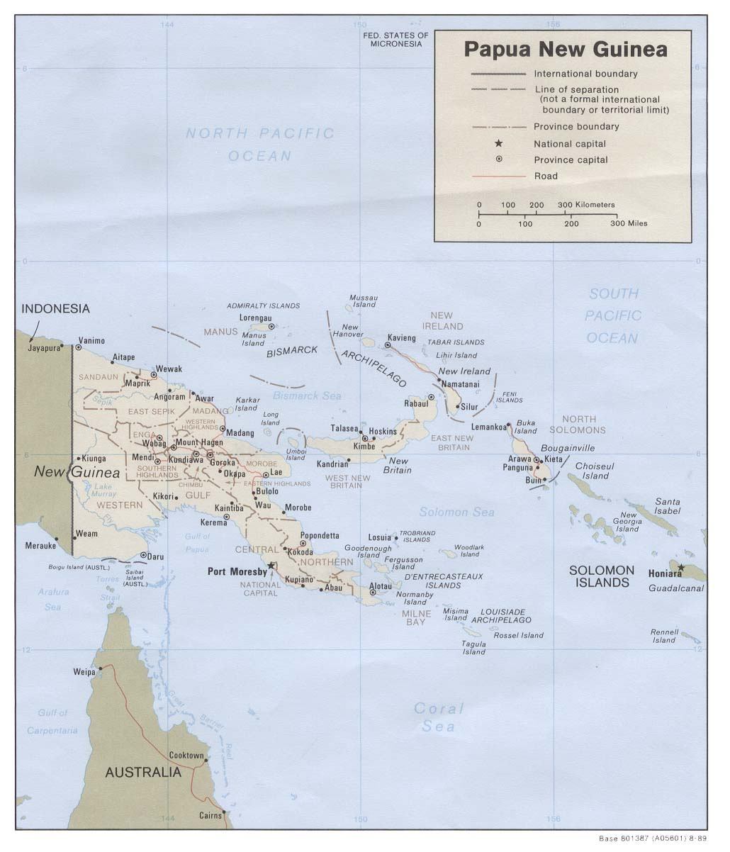 Map Of Papua New Guinea , Papua New Guinea [Political Map] 1989 (131K)