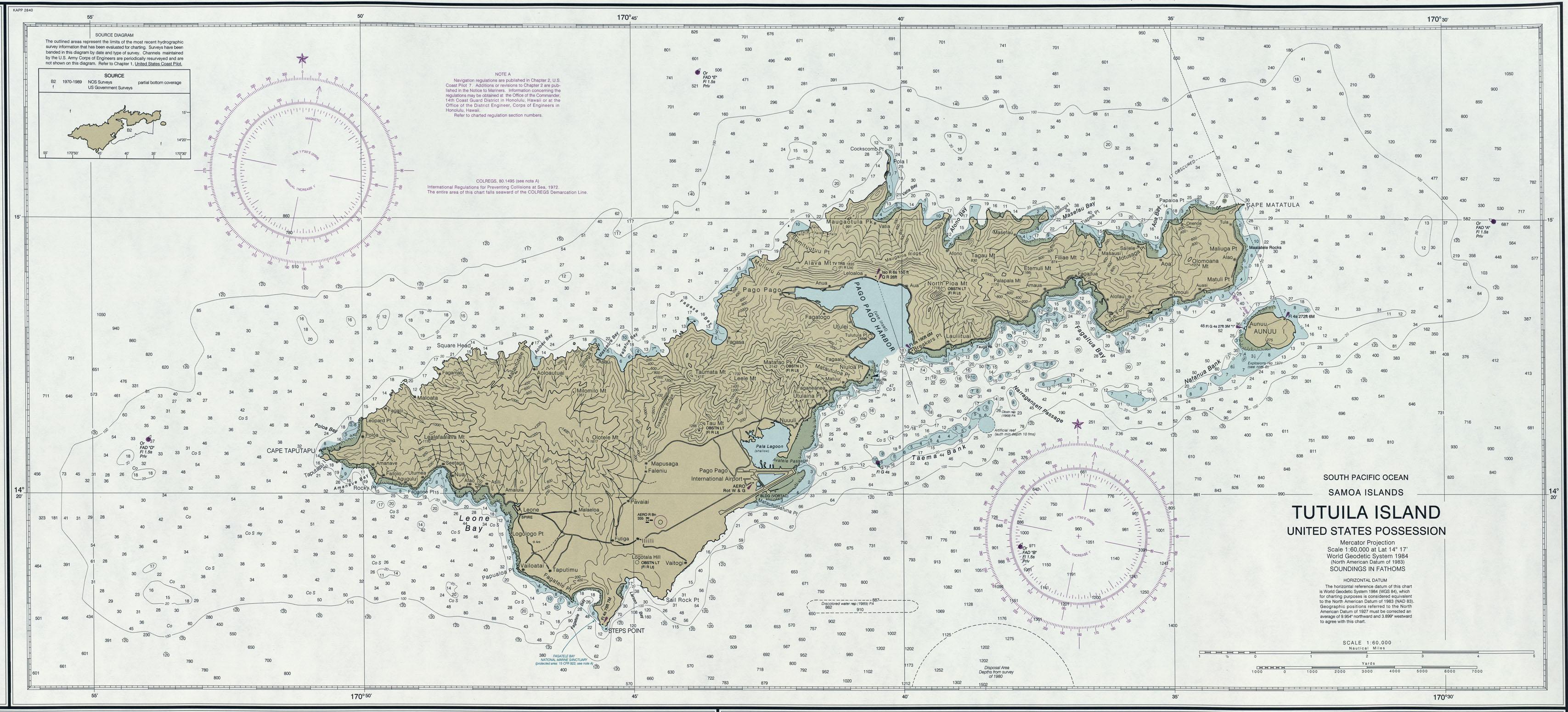 Tutuila Island Nautical Chart