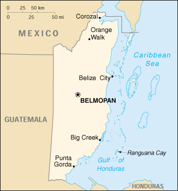 Map Of Belize, Belize (Small Map) 2000 (90K)