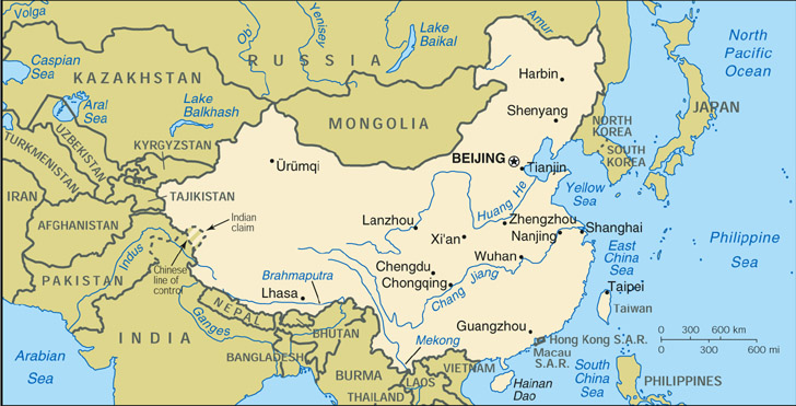 Map Of China And Surrounding Areas.Asia