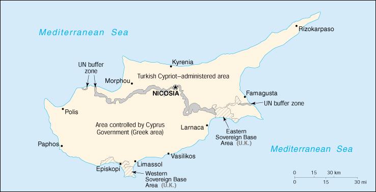 Cyprus - politieke kaart