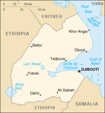 Map Of Djibouti Djibouti (Small Map) 2000 (95K)