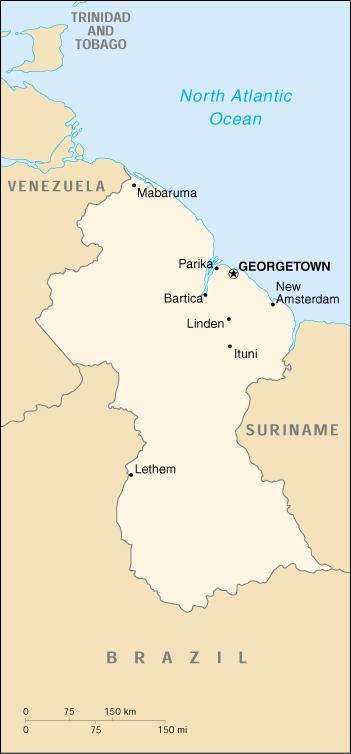 Map Of Guyana, Guyana (Small Map) 2000 (104K)