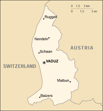 Map Of Liechtenstein , Liechtenstein (Small Map) 2000 (55K)