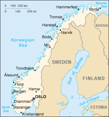 Map Of Norway, Norway (Small Map) 2000 (120K)