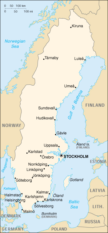 Map Of Sweden , Sweden (Small Map) 2000 (204K)