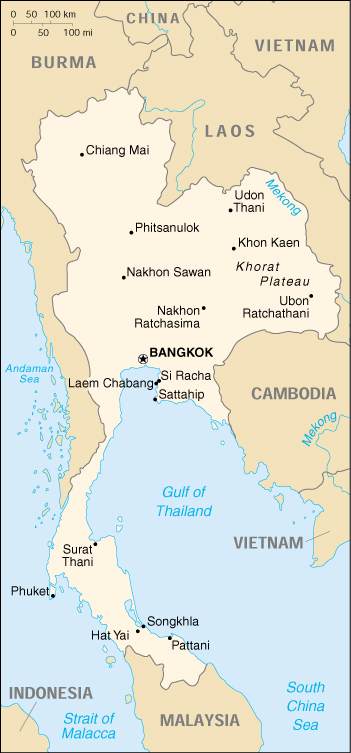 Map Of Thailand , Thailand (Small Map) 2000 (187K)