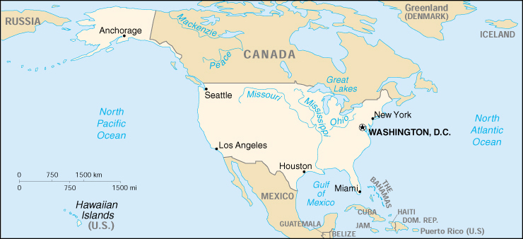 Map Of The United States Of America Embassy World - Hawaii islands map usa