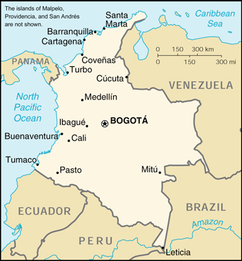Colombia (kleine kaart)