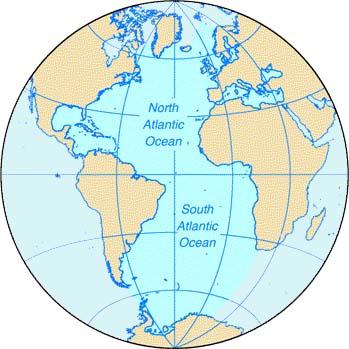World Map Atlantic Ocean