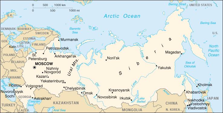 Lena River Map Lena River: North flowing River of Eastern Siberia Lena River Map