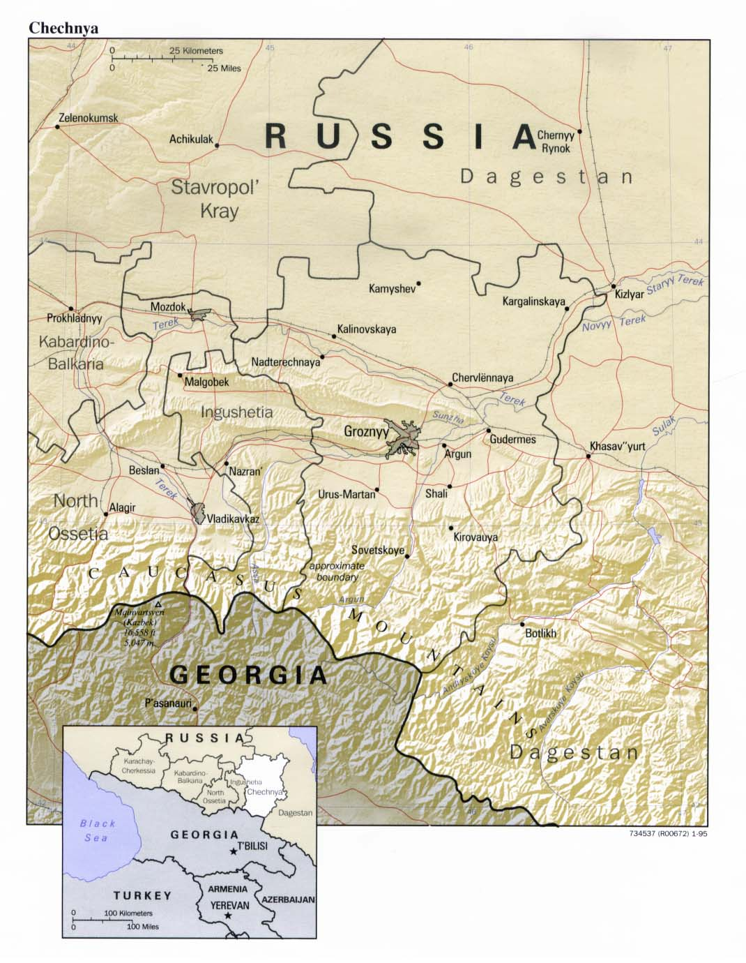 Chechnya Mapa de Relieve, Russia 1995.