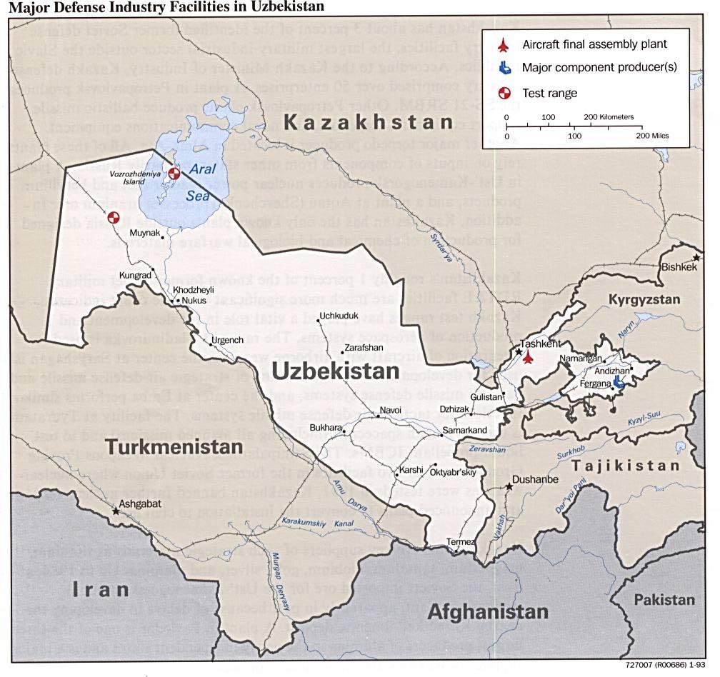 Uzbekistan defense facilities map uzbekistan mappery from libutexas gumiabroncs Images