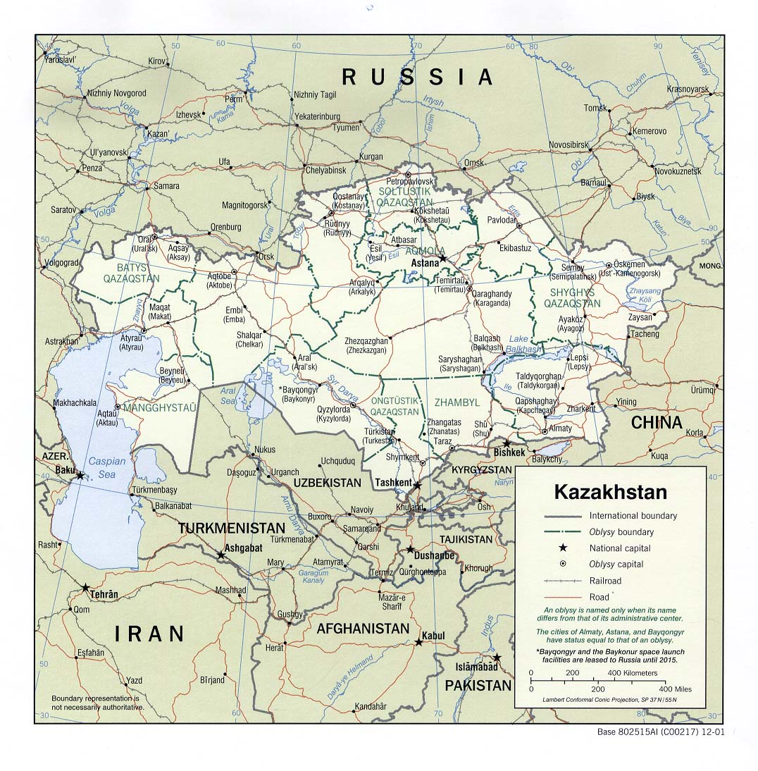 Kazakhstan Political Map.Kazakhstan Maps Perry Castaneda Map Collection Ut Library Online