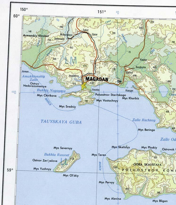 Magadan Area Mapa topográfico, Magadan Oblast, Russia 1978.
