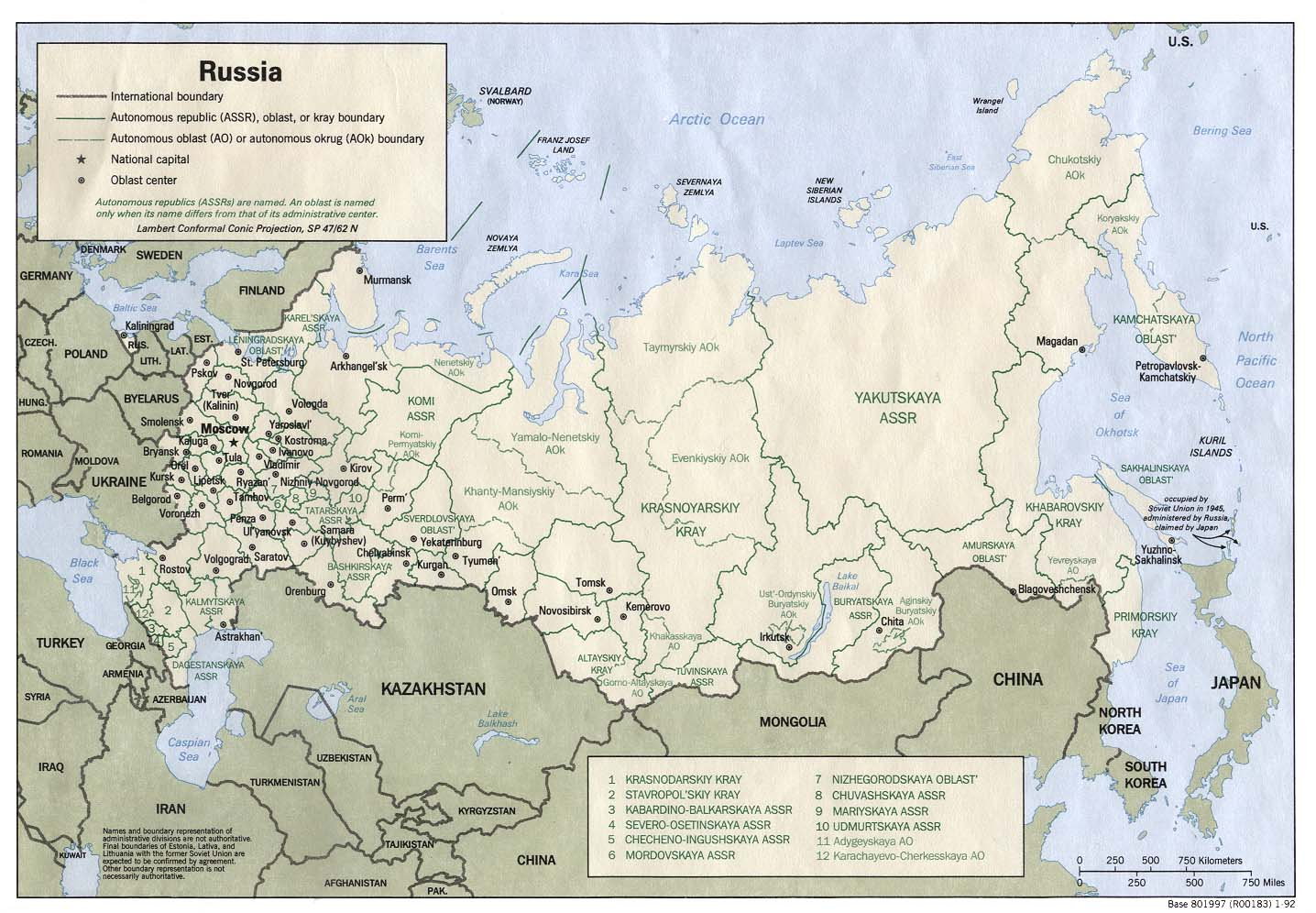 Russia And The Former Soviet Republics Maps PerryCastañeda Map - Russia administrative map