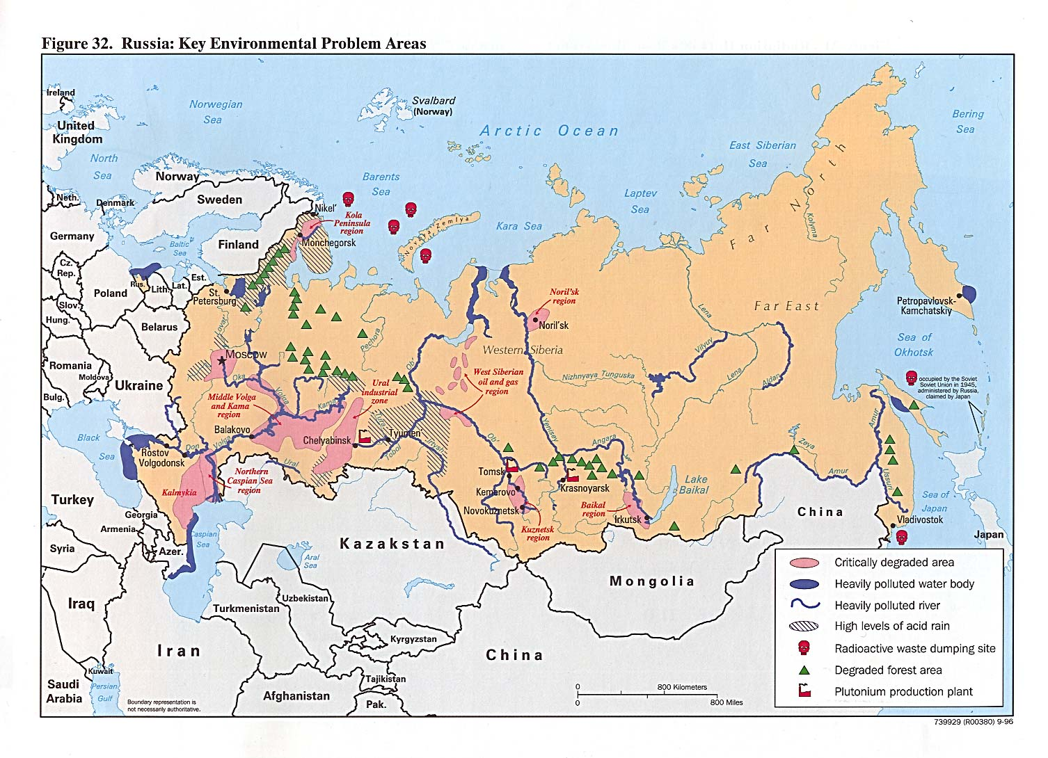 Russia Environmental Problem Areas Mapa 1996.