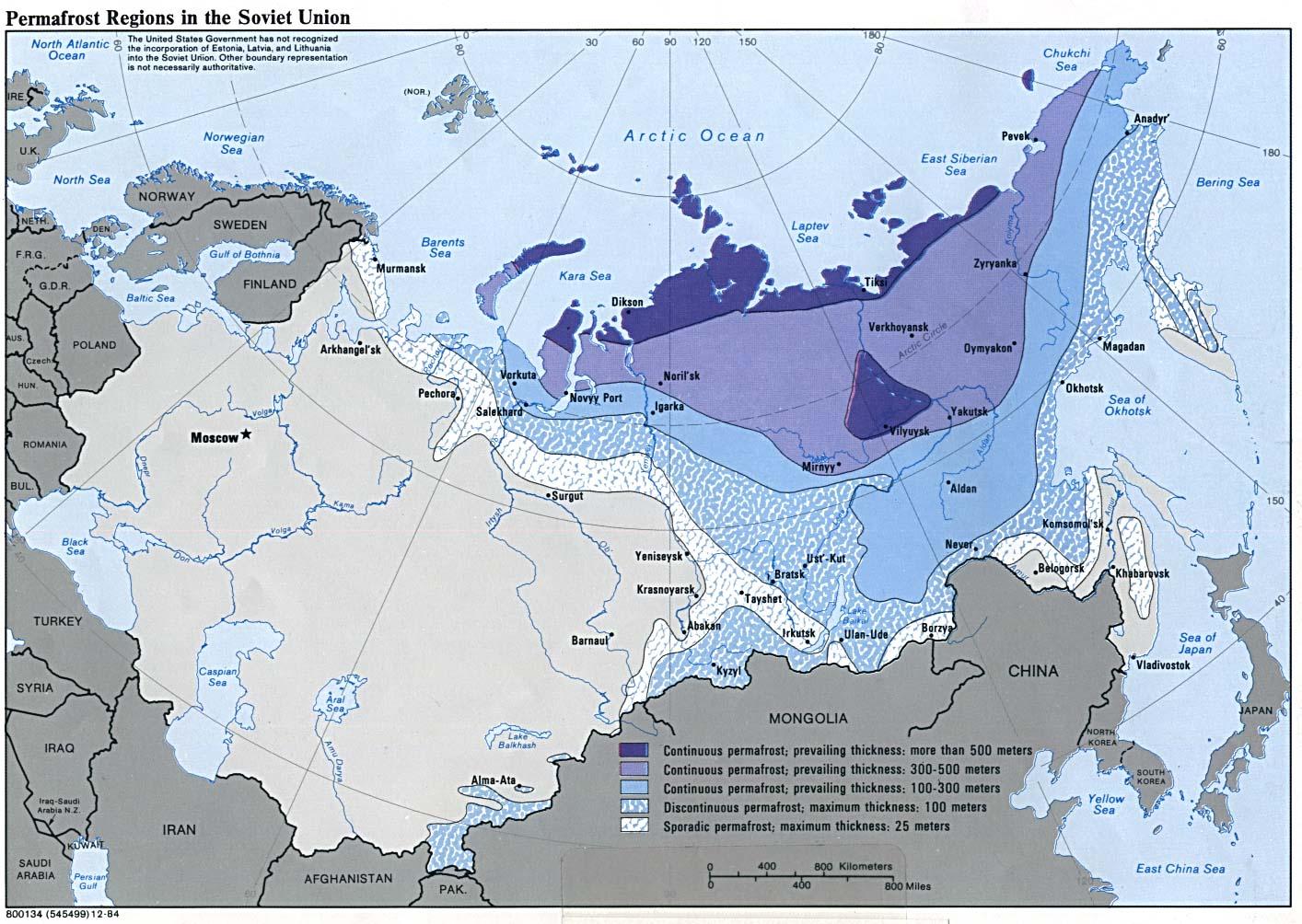 Unión Soviética Permafrost Regions Mapa 1984.