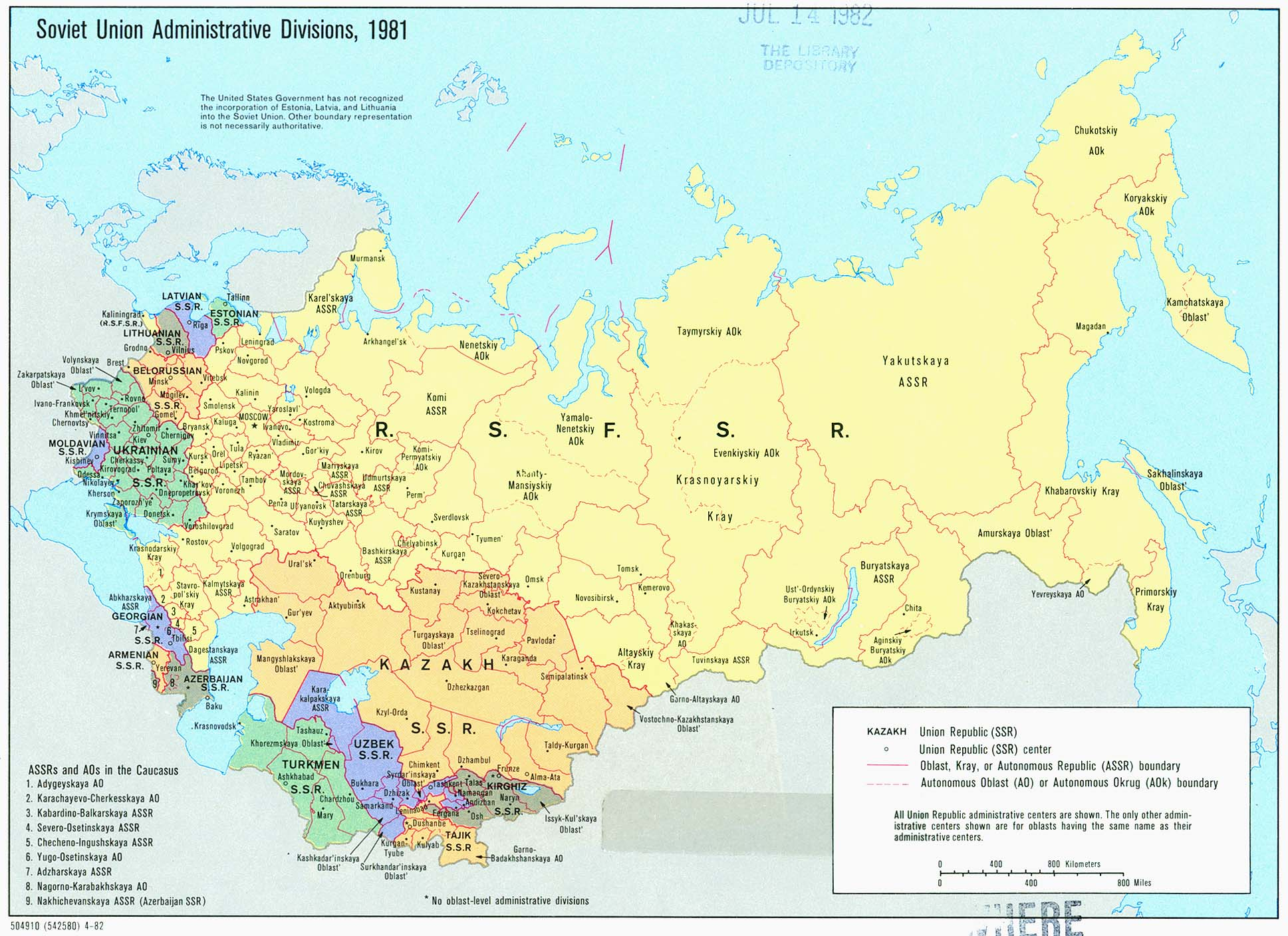 Russia and the former soviet republics maps perry castaeda map soviet union administrative divisions gumiabroncs Gallery