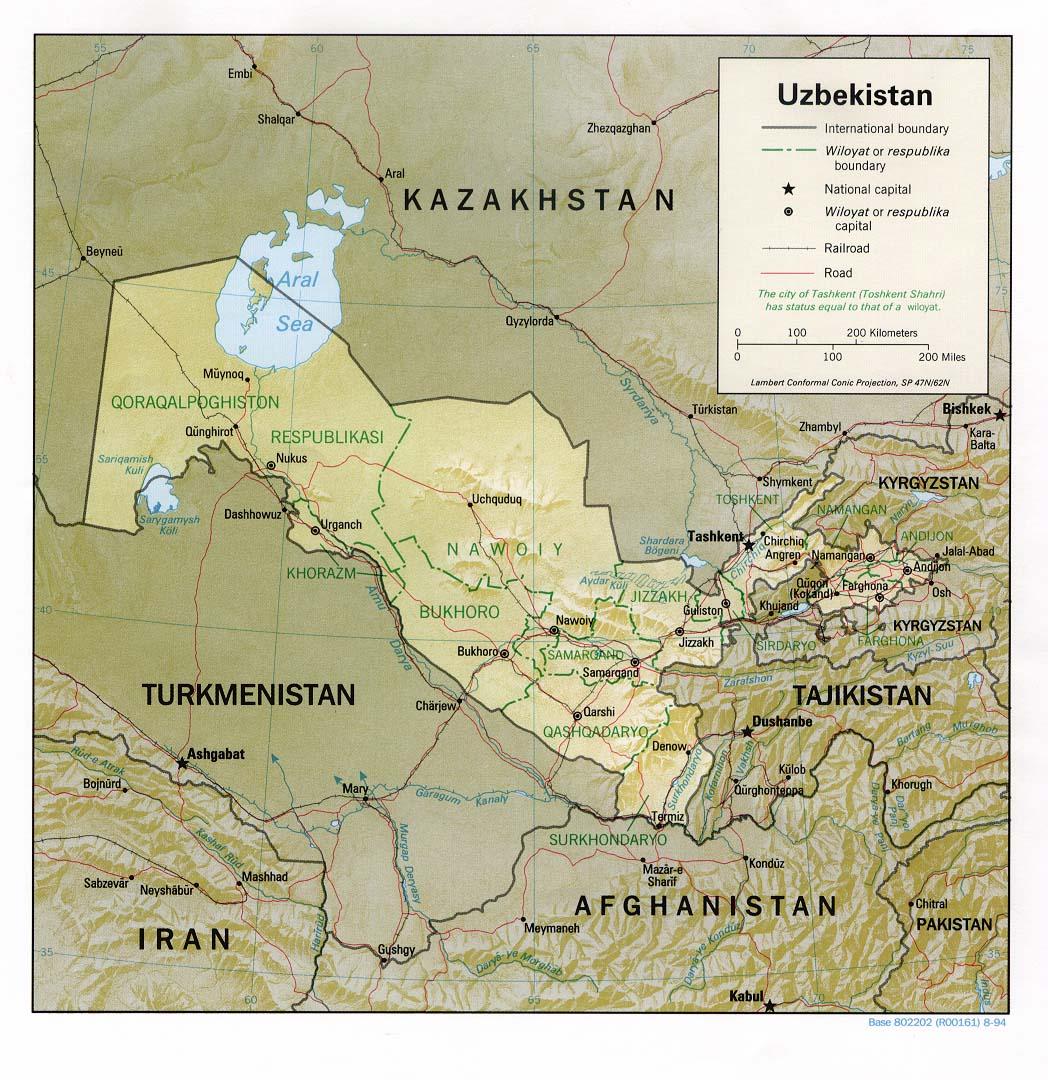 Map Of Uzbekistan , Uzbekistan [Shaded Relief Map] 1994 (241K)