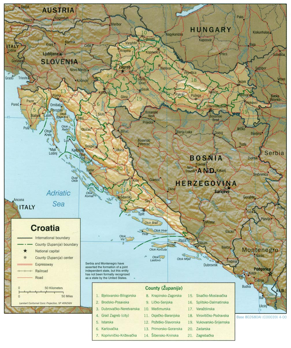 Croatia Map - Croatia Rel
