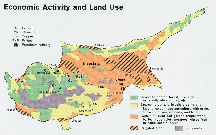 Cyprus Economic Activity And Land Use From Map