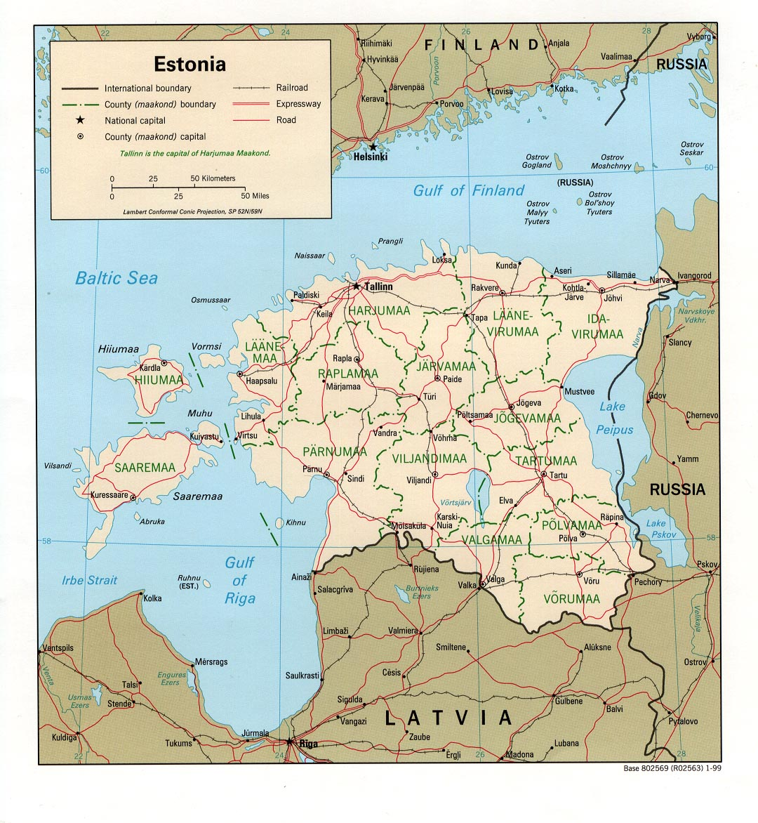 Map Of Estonia , Estonia [Political Map] 1999 (299K)