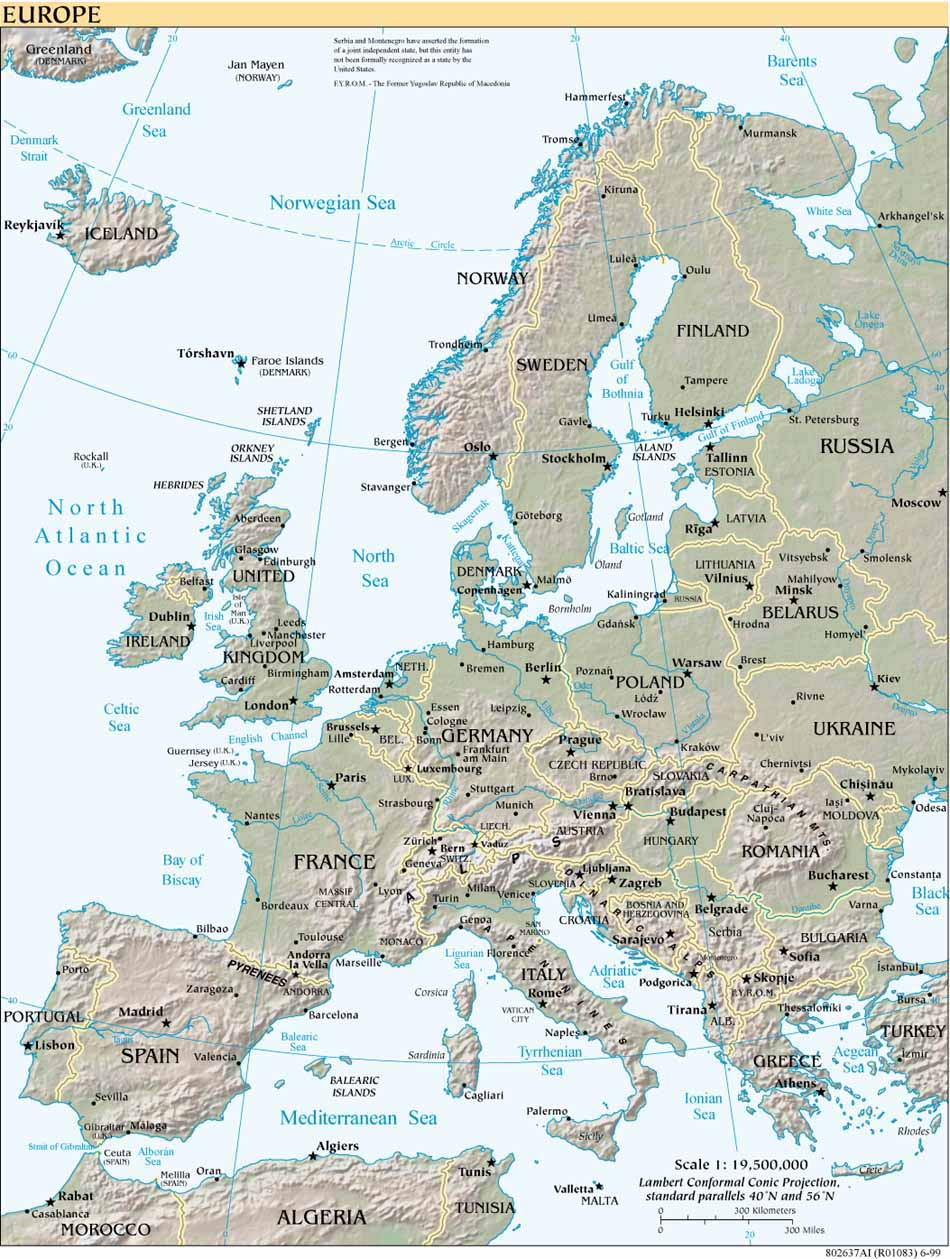 CIA reference map of Europe  with physical features and 1999 borders from the Perry-Castaneda Library Map  Collection, University of Texas.