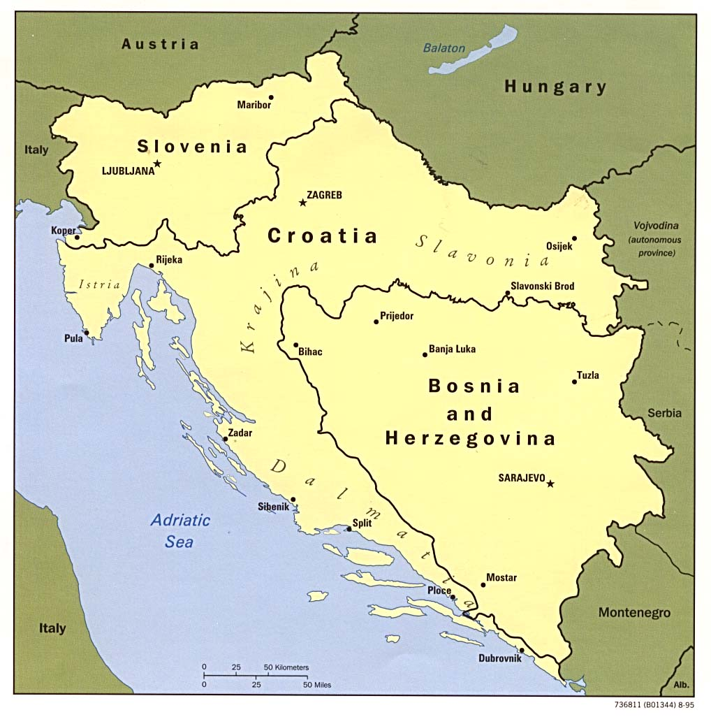 1Up Travel - Maps of Bosnia and Herzegovina.Former Yugoslavia ...