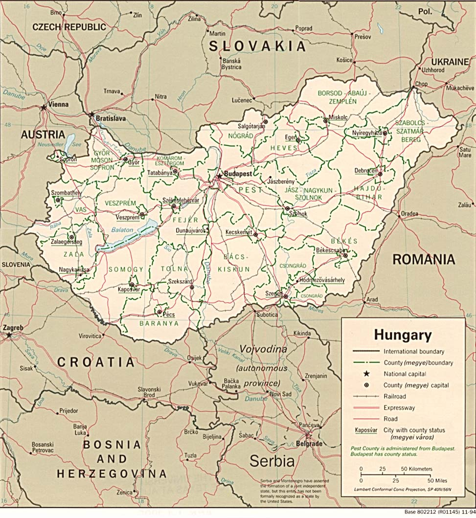 Map Of Hungary , Hungary [Political Map] 1994 (224K)