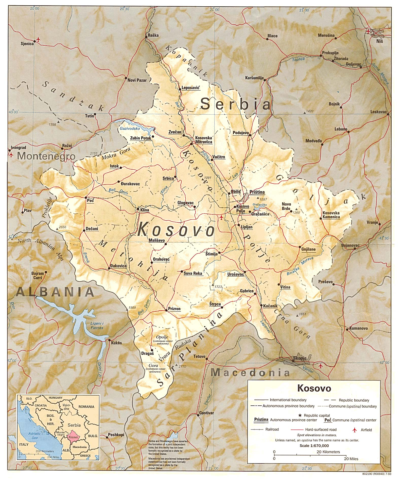 Kosovo Maps - Perry-Castañeda Map Collection - UT Liry Online on map of senegal, map of macedonia, map of bulgaria, map of benin, map of united states, map of slovenia, map of european countries, map of malta, map of latvia, map of guam, map of puerto rico, map of australia, map of yugoslavia, map of bosnia, map of laos, map of slovakia, map of india, map of alps, map of montenegro,