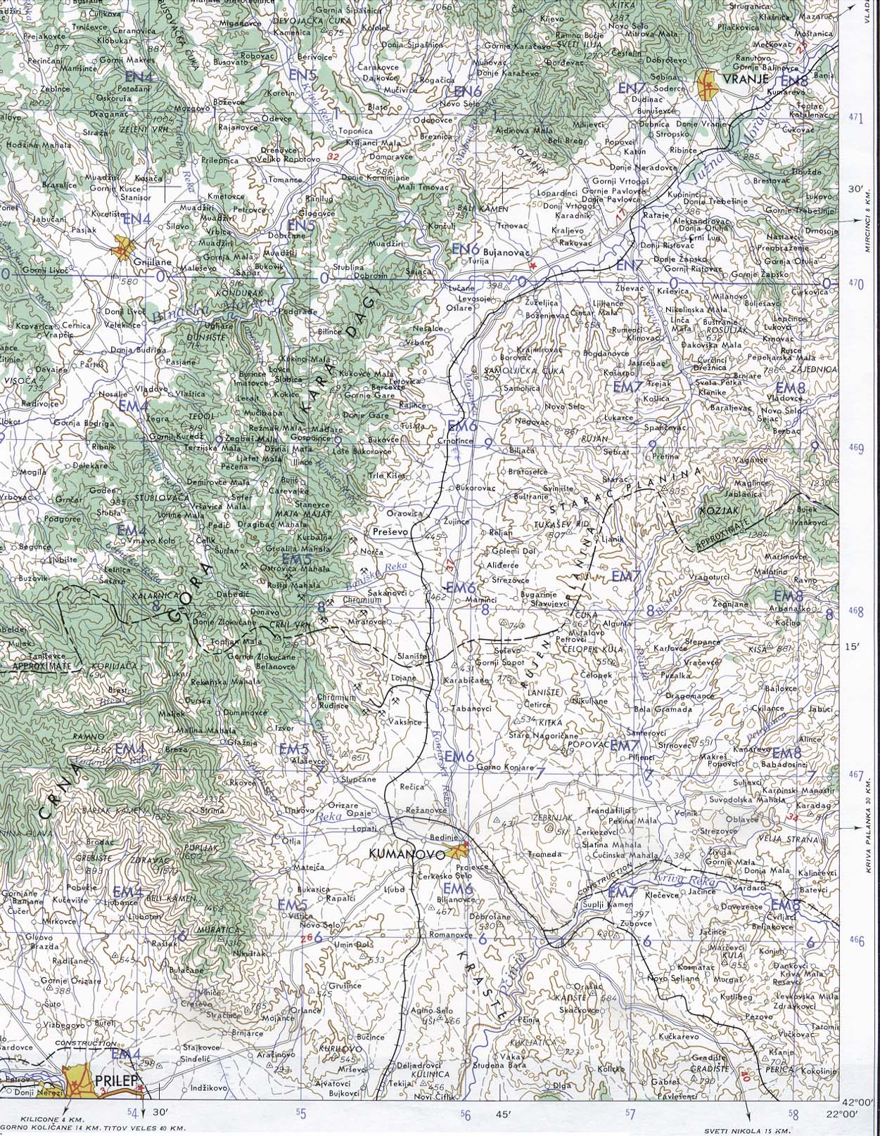 1Up Travel Maps of MacedoniaMacedonia Kumanovoprilep Area 1959