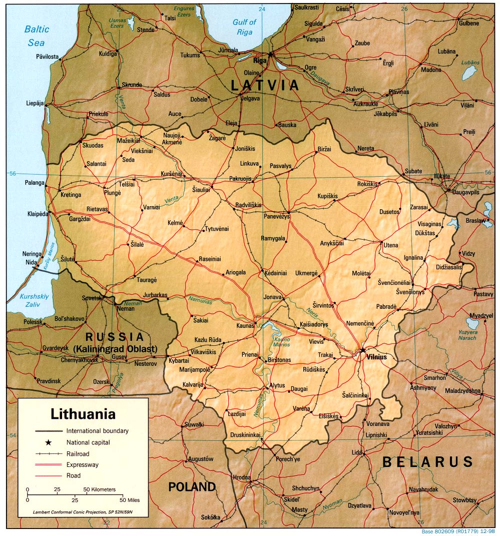 lithuania maps  perrycastañeda map collection  ut library online -  lithuania (shaded