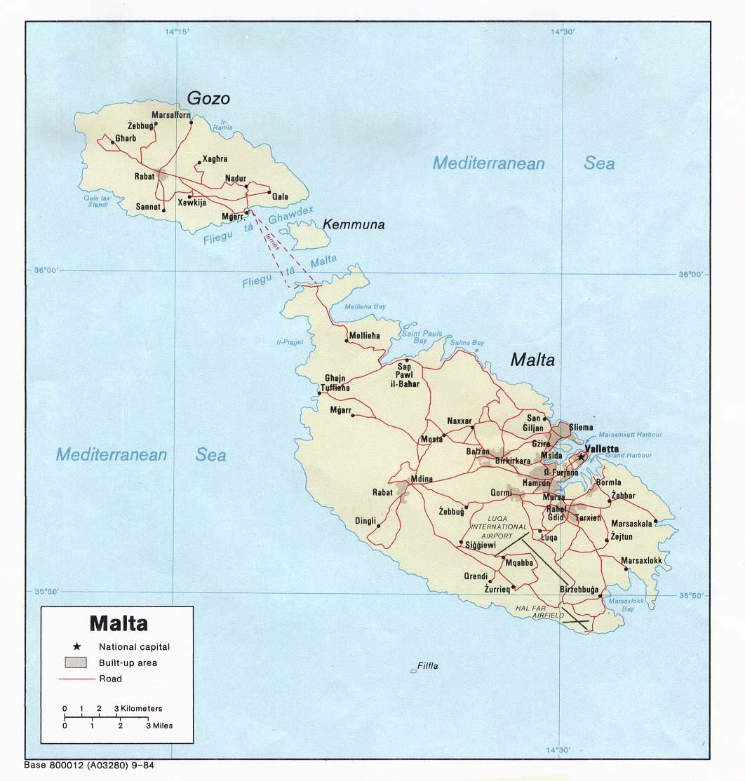 Malta Cartina Stradale.Map Of Malta