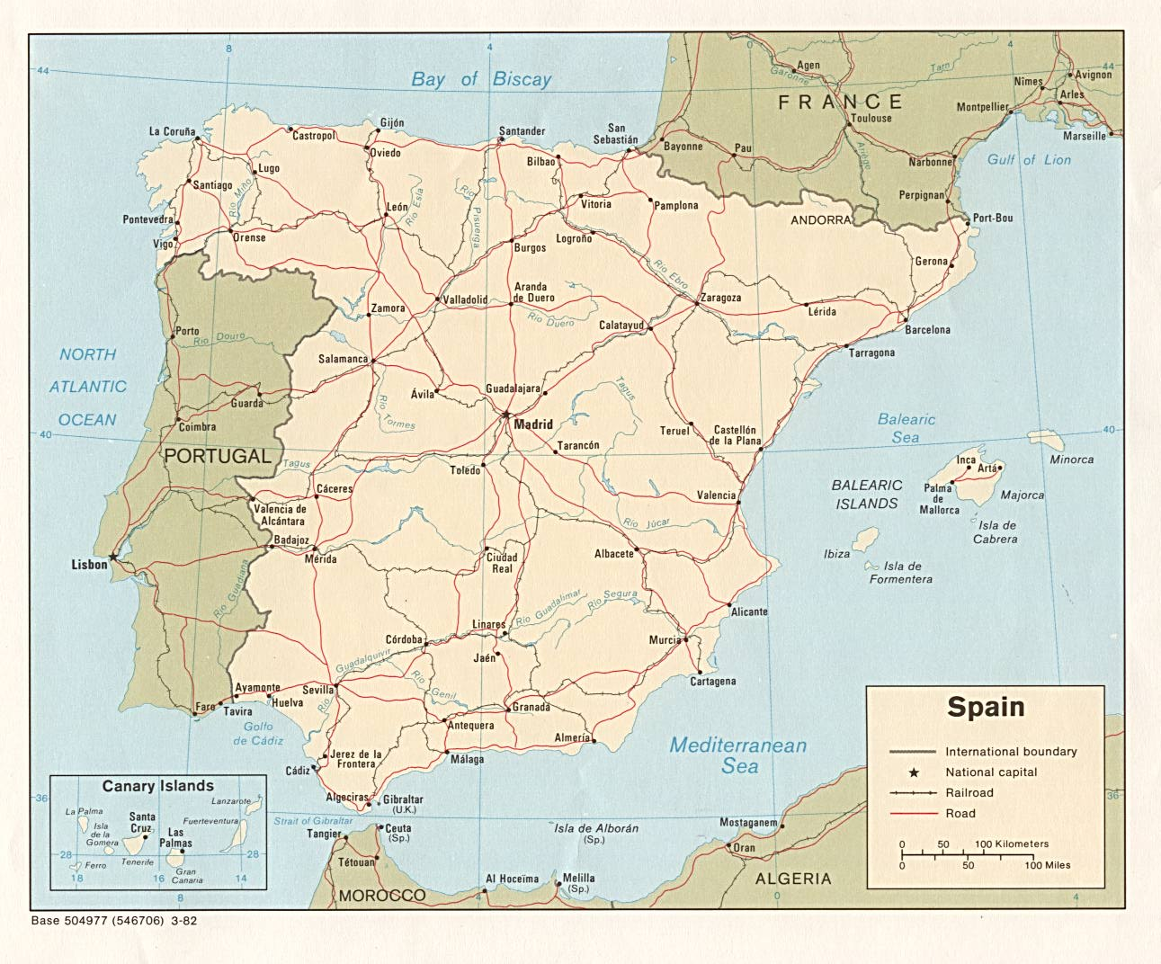 Spain Map with Cities