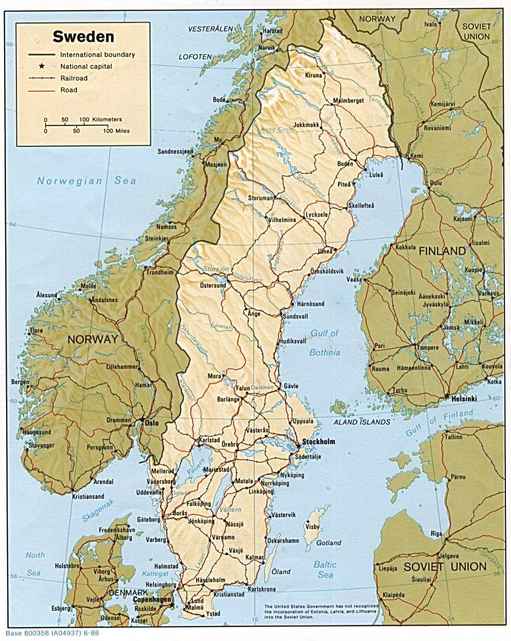 Map Of Sweden , Sweden [Shaded Relief Map] 1986 (269K)