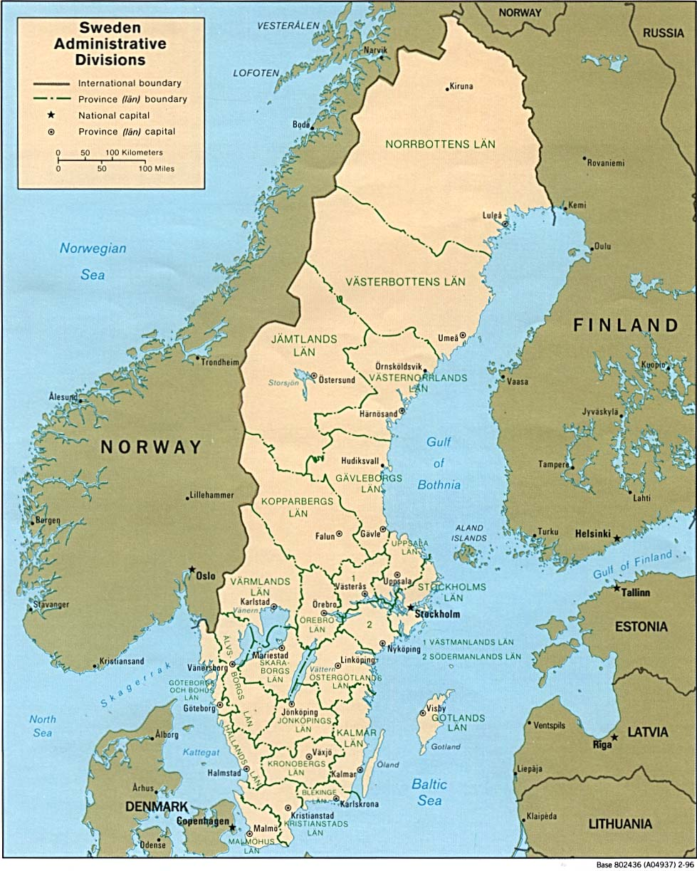sweden administrative divisions . sweden maps  perrycastañeda map collection  ut library online
