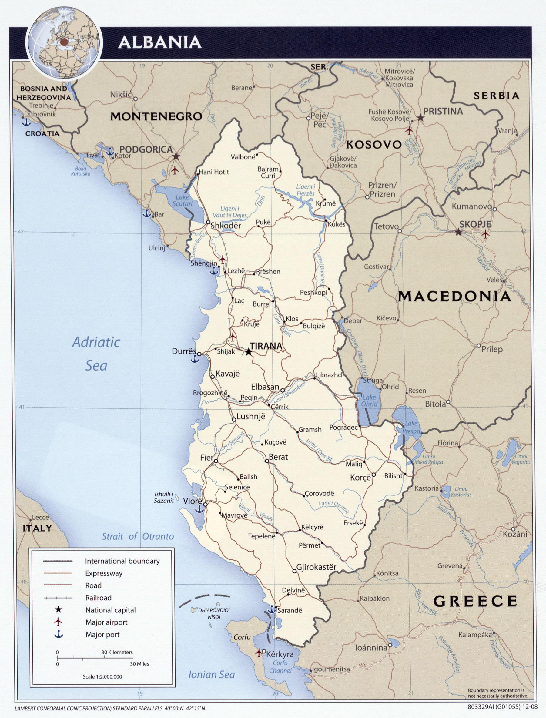 Albanija Karta Albanije Autokarta Zemljovid Gorila