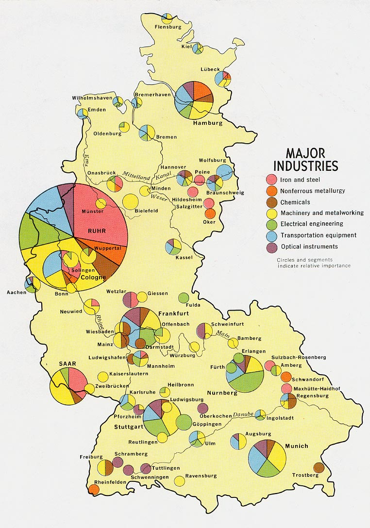 Alemania Occidental Major Industria Mapa 1972.