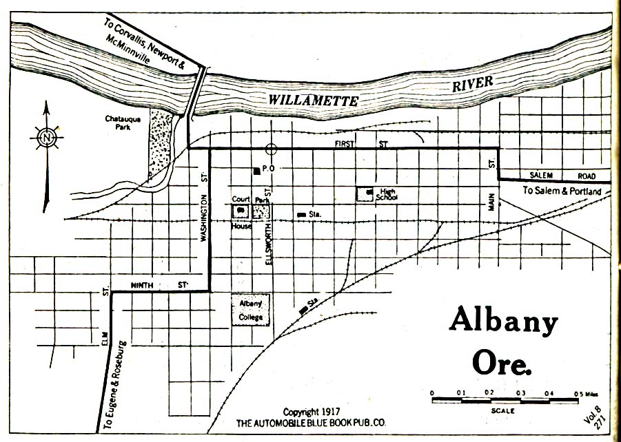 Historical Maps of U.S Cities. Albany, Oregon 1917 Automobile Blue Book (323K)